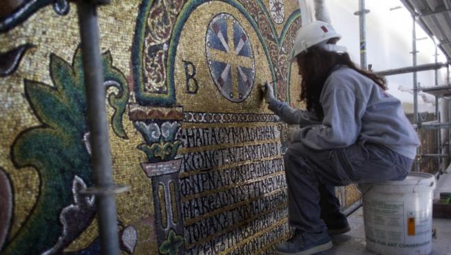 Fase de restauración de la basílica de la Natividad