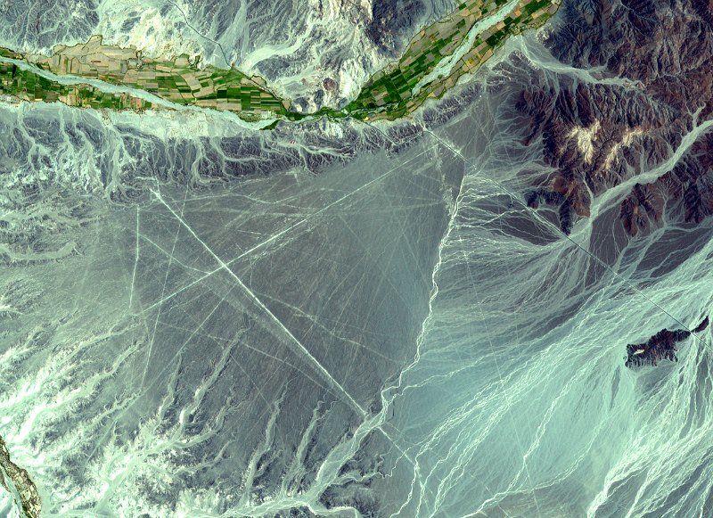 Detalle de una de las imágenes de satélite tomadas por la NASA en la zona de Nazca