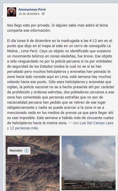 Post de Anonymous respecto al ufocrash de Cienaguilla